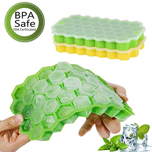 Ice Cube Trays with Lids,Bomstar 2 Pack Food Grade Silica Gel Flexible 74 Ice Trays with Spill-Resistant Removable Lid,BPA Free Ice Cube Molds for Whiskey Storage,Cocktail,Beverages by BomStar (Image #6)