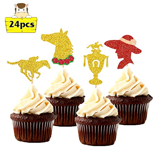 Kentucky Derby Party Supplies Horses Race Cupcake Toppers 24pcs Glitter Horse Themed Party Cake Decorations Derby Day Festival Cupcake Toppers for Kids or -