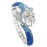 EVER FAITH Women's Austrian Crystal Cool Animal Fly Dragon Bangle Bracelet Royal Blue Silver-Tone