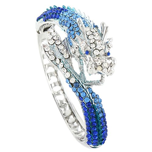 EVER FAITH Women's Austrian Crystal Cool Animal Fly Dragon Bangle Bracelet Royal Blue Silver-Tone ()
