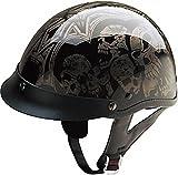 HCI Silver Screaming Skulls Half Motorcycle Helmet. 100-107