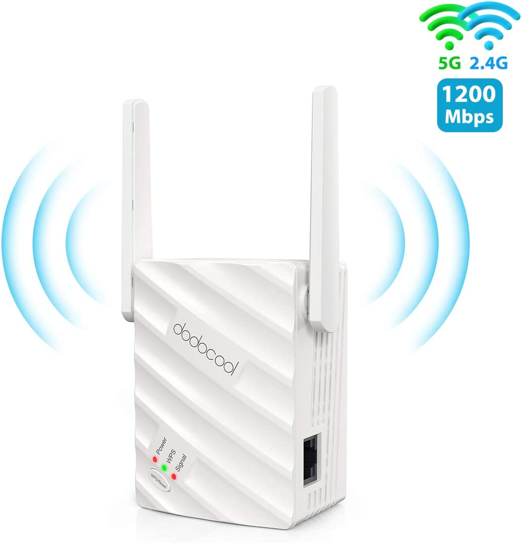 dodocool WiFi Range Extender, 1200Mbps WiFi Repeater 2.4 & 5GHz Dual Band Wireless Signal Booster with Ethernet Port, Support WPS One Button Easy Setup to Coverage WiFi Dead Zones(AP/Repeater Mode)