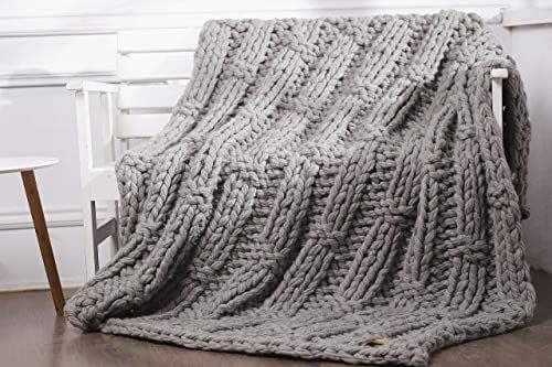 Amazon.com: Chunky Knit Blanket Gray Giant Wool Yarn ...