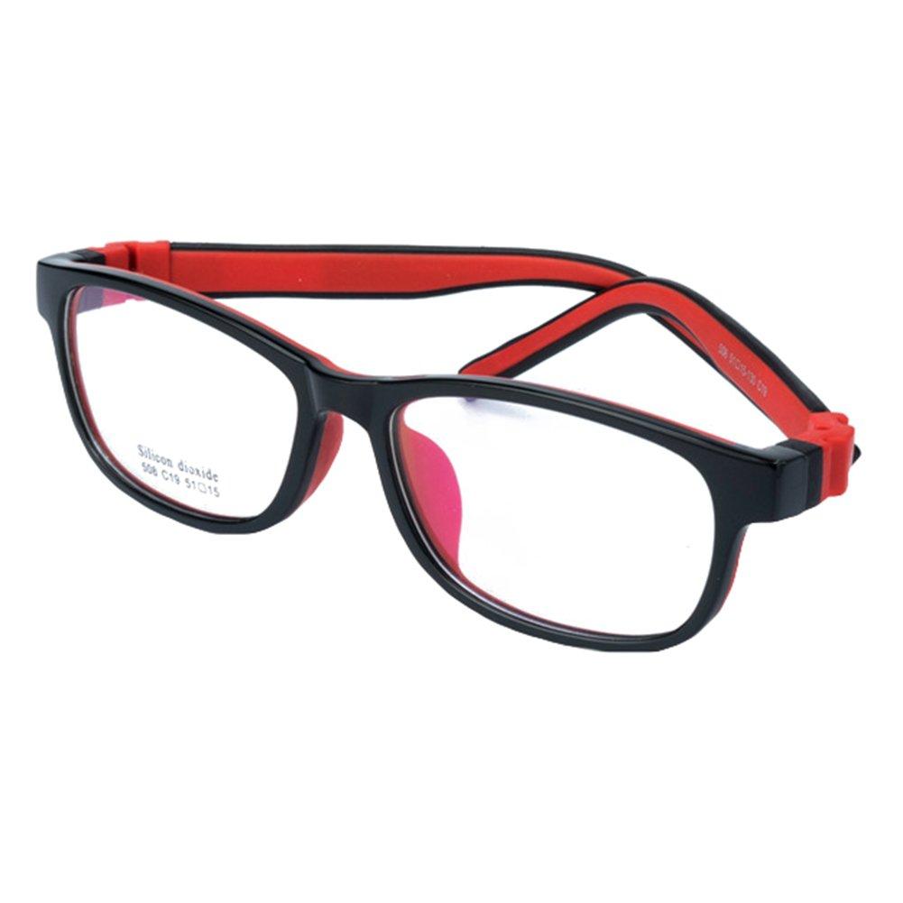 Junkai Mädchen Jungen Silikon Klare Linse Brillengestell + Auto Form Brillenetui X171122ETYJJ0403-ka