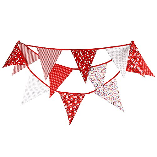(FirstKitchen Extra Large Bunting 3.7M/12 Feet Flag Banner Pennant Garland Fabric Triangle Flags Double Sided Vintage Cloth Shabby Chic Decoration for Wedding Birthday Party Bedrooms (Red))