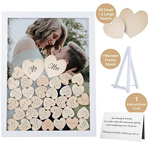 GLM Wedding Guest Book Alternative with Drop Top Wooden Hearts and Instruction Card for Great Wedding Decorations Guest Book Alternatives with Stand as Modern or Rustic Wedding Decorations (Drop Frame)