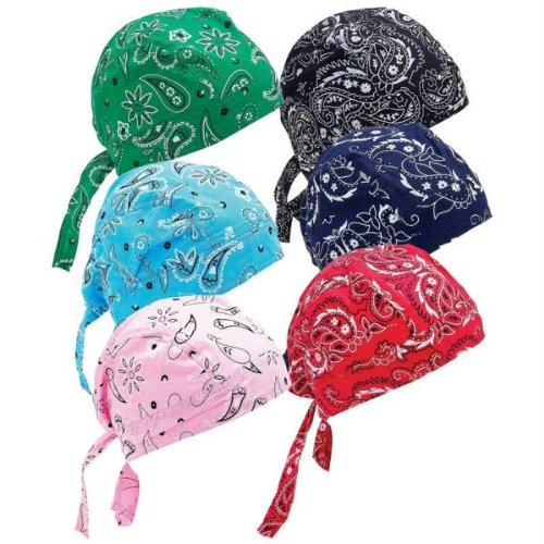 6 Assorted Designs Skull Caps Paisley Bandanna Biker Skull Hat Caps]()