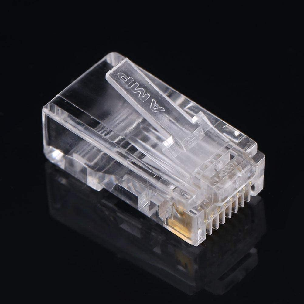 100 PCS//LOT Home Use for Cat6 Cat 6a solid//stranded Network Cable Heads Ethernet Connector Self-locking Network Internet Connector LAN Connector