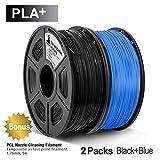 3D Warhorse PLA Plus(PLA+) Filament, PLA Plus(PLA+) Filament 1.75mm, Dimensional Accuracy +/- 0.02 mm, 4.4 LBS(2KG), Bonus with 5M PCL Nozzle Cleaning Filament, Black+Blue