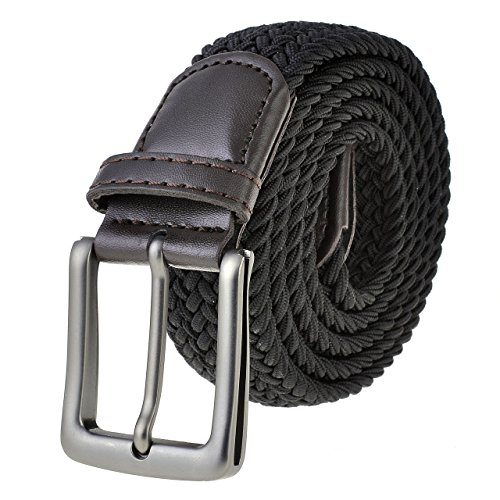 Ayliss® Men's Square Pink Buckle Thicken Canvas Blet Stretch Elasticated Woven Belt (One Size, Black)