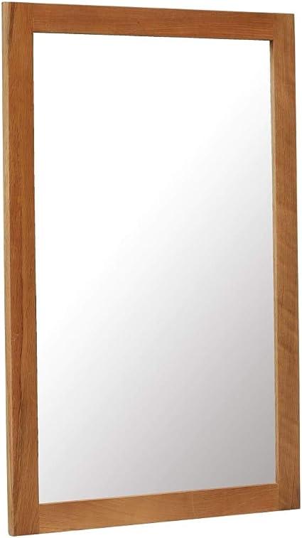 vidaXL Legno Massello di Rovere Specchio con Cornice Stile Vintage Rettangolare Decorazione Casa Specchiera Vetro 60x90 cm