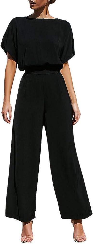 Lomelomme Jumpsuit Blusa Y Pantalones Para Mujer Elegante Verano Largo Negro Negro M Amazon Es Ropa Y Accesorios