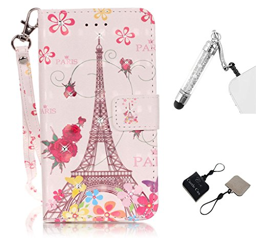 iPod touch 6 Phone Case, Castle Cas, Blingbling Diamond&Paris Eiffel Tower&Flowers, Design PU Leather Wallet Card Slots Stander Feature Soft Cover with Capacitive Pen and C&C Mobile Cleaner [Colorful] (A Cas Of A Ipod)