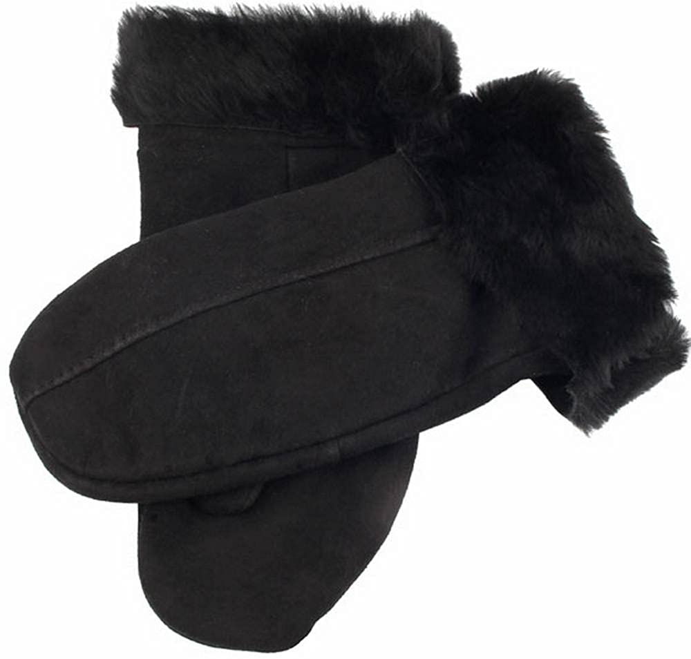 Black Dents Mens Inverness Suede Sheepskin Mittens