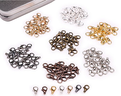 7 Colors Small Lobster Claw Clasps Clip DIY Necklace Jewelry Making Accessories, 12mmx6mm, 140PCS
