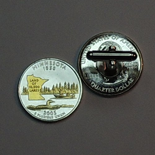 Minnesota Statehood Quarter - Gorgeous 2 Toned (Uniquely Hand Done) Gold on Silver coin cufflinks for men - men's jewelry men's accessories for him groomsmen