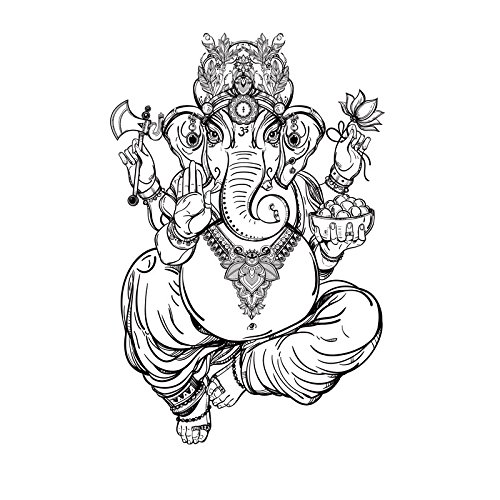Ganesh Statue Carved - ZOZOSO Wall Sticker Ganesh Idol Ganesha Wall Sticker Yoga Buddha Statue Carved Wall Sticker Supply Long Nose