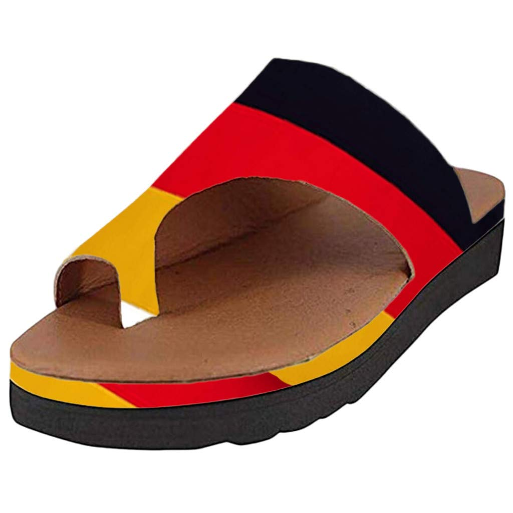 〓COOlCCI〓 Women Comfy Platform Sandal Summer Beach Travel Shoes Fashion Sandals Comfortable Ladies Shoes German Flag Black