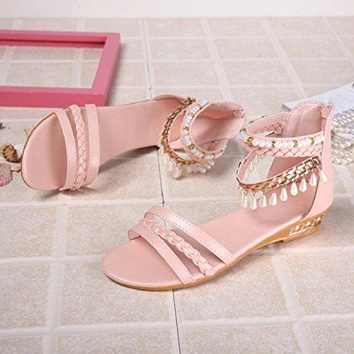 Elevin (tm) Kvinner Sommer Mote Peep Toe Perle Streng Perle Elegant Plattform Kiler Sandaler Sko Rosa