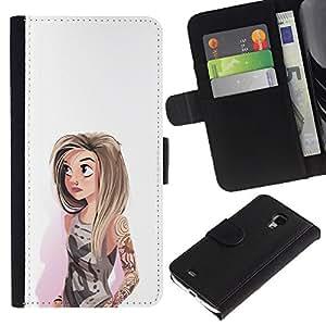 KLONGSHOP / Tirón de la caja Cartera de cuero con ranuras para tarjetas - Hipster White Fashion - Samsung Galaxy S4 Mini i9190 MINI VERSION!