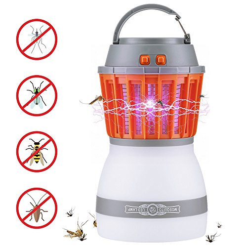 OYRGCIK Bug Zapper & Camping Lantern, 2 in 1 Electronic Mosquito Insect Fly Killer & Night LED Light Bulb Lamp Portable Rechargeable Waterproof Washable for Indoor Outdoor Home Traveling