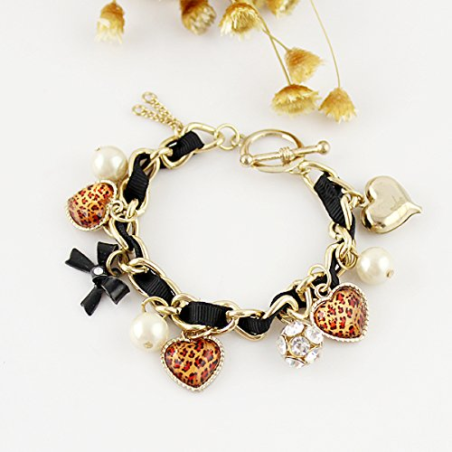 Graceful Charm Delicated Leopard Heart Bowknot and Simulated-pearl Multi-elements Bracelets for Women