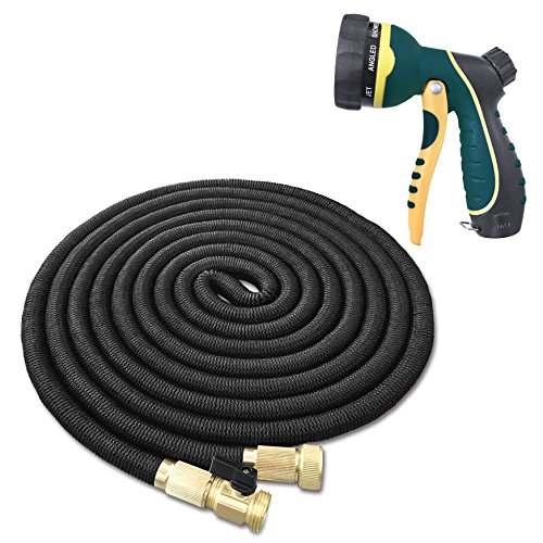 Best Flexible & Expandable Garden Hose – 100 Feet with Solid Brass Fittings & Strongest Triple Core Latex Free Spray Nozzle 3/4 USA Standard Easy Storage Kink Free Water Hose