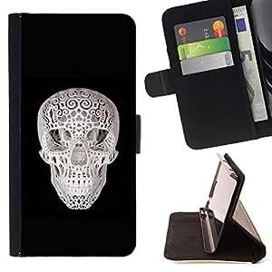 Momo Phone Case / Flip Funda de Cuero Case Cover - Cráneo 3D de impresión Negro Blanco Minimalista - Samsung Galaxy S4 IV I9500