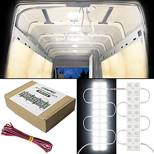 GAMPRO 12V 12W 40-LED Van Interior Light Kits,Waterproof White LED Ceiling Light Kits for Van, Mini Van, Trailer, Truck, RV, Caravan, Pickup, Boat, Ducato, Sprinter and Any 12V Vehicles(12W)