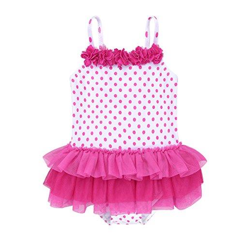 Pink Tankini Dot (CHICTRY Baby Girls Toddler Cute Polka Dots Ruffle One Piece Skirt Swimsuit Swimwear Hot Pink 2-3 Years)