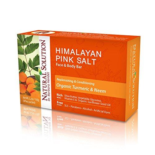 Natural Solution Himalayan Pink Salt Soap Bar,Moisturizing And Organic Bar Soap,Turmeric & Neem - 5.2 oz