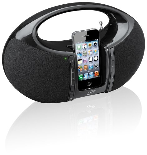 iLive  Portable Boombox FM Radio with Dock for iPhone/iPod - Black (Discontinued by Manufacturer)