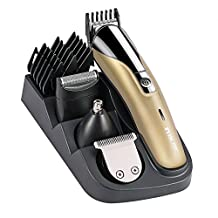BESTOPE 8-in-1 Men's Grooming Kit, Hair and Beard Trimmer, Lithium Powered Wireless (Gold)
