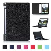 Tsmine Lenovo Yoga Tab 3 10 Tablet Flip Case - Premium Slim Magnetic Smart Cover Folio Protective PU Leather Case Stand for Lenovo Yoga Tab 3 10.1 (NOT Fit Yoga Tab 3 Pro 10), Black