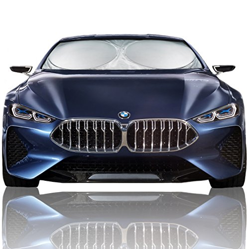 Magnelex Car Windshield Sunshade (Large) + Bonus Steering Wheel Cover Sun Shade. Premium Quality Reflective Polyester Material Blocks Heat & Sun and Keeps Your Vehicle Cool (63' x 33.8')
