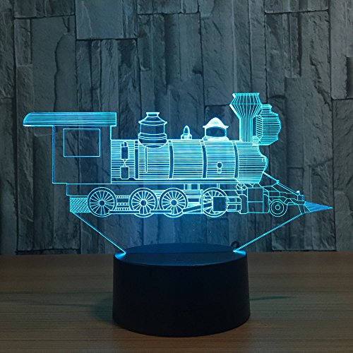 - 3D Night Light Trains Toy LED Lamp Decor 7 Colors Change Touch Locomotive Engine Desk Lamp Table Light with USB Cable for Room Decor, Best Birthday Gift Christmas Gift for Kids or Adult