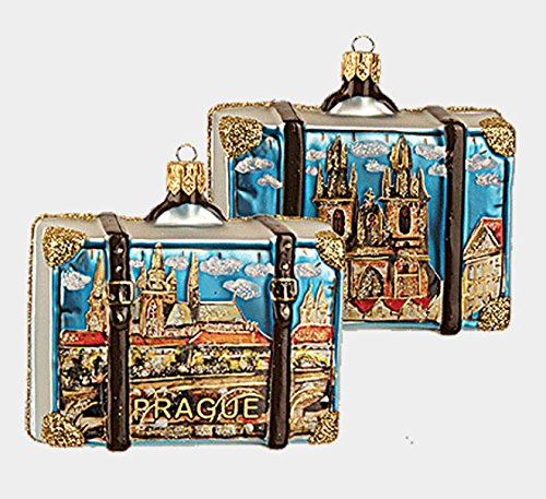 Pinnacle Peak Trading Company Prague Czech Republic Travel Suitcase Glass Christmas Ornament ONE Decoration (Suitcase Ornament)