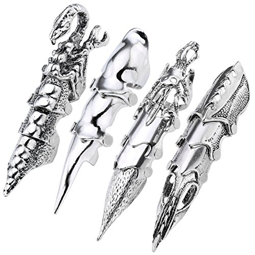 - PiercingJ 4pcs Men's Halloween Props Armor Knuckle Flexible Full Finger Ring Punk Rock Gothic Skull Cosplay Jewelry
