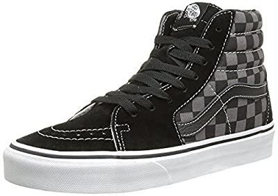 Vans Men's Sk8-Hi Skate Shoe (10 D(M) US, Black/Pewter Checkerboard Canvas)