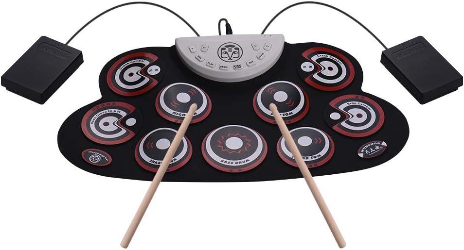 Kalaok Batería de silicona portátil Batería enrollable electrónica Batería enrollable con pedales Pies de pedal Diseño de dibujos animados Batería digital para niños principiantes