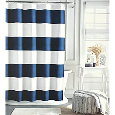 Tommy Hilfiger Cotton Shower Curtain Wide Stripes Fabric Shower Curtain Charcoal Grey Navy Blue Cabana Stripe (Navy Blue)