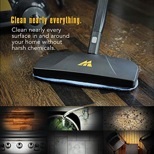 McCulloch MC1275 Heavy-Duty Cleaner with 18 Accessories - All-Natural, Chemical-Free Pressurized Steam Cleaning for Most Floors, Counters, Appliances, Windows, Autos, and More, Yellow/Grey