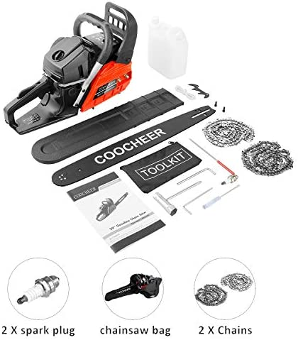 COOCHEER Chainsaw, 62CC 2 Stroke Gas Powered Chainsaw, 20-Inch 3.5 HP and Handheld Gasoline Chain Saw with Carry Bag for Tree Stumps, Limbs, Tree Felling, and Firewood Cutting Red