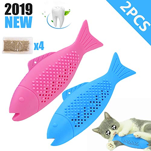 Dillitop Catnip Toys for Cats, Natural Rubber Simulation Fish Shape Interactive Cat Toys, Effective Cat Teeth Cleaning Dental Care Chew Stick for Pet Cat Kitten -2 Pack (Toys Cat Natural)
