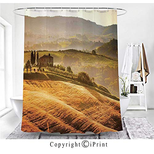(AngelSept Siena Tuscany Retro Farm House Trees Old Path Country Landscape on Sunset Shower Curtain - Water, Soap, and - Machine Washable - Shower Hooks are Included,Ginger and Green)