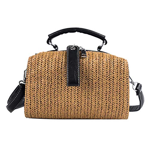 Swyss 2019 Rattan Bags for Women - Vintage Casual Woven Straw Shoulder Bag Leather Straps Cross Body Bag,Brown ()