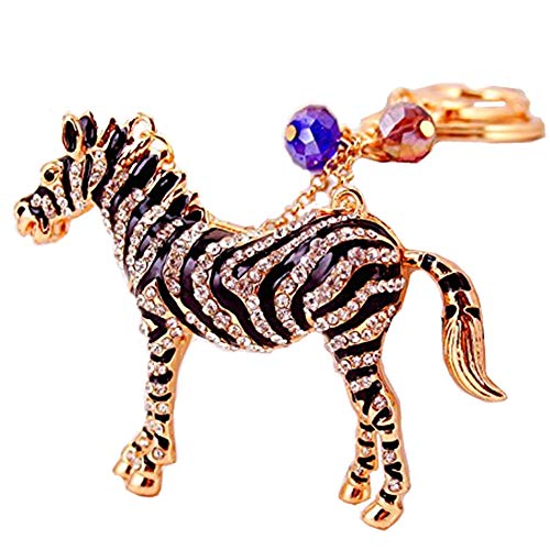 Cute Zebra Horse Keychain Sparkling Keyring Crystal for sale  Delivered anywhere in USA