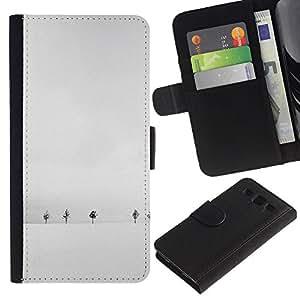 KingStore / Leather Etui en cuir / Samsung Galaxy S3 III I9300 / Invierno Árboles blancos minimalista Fría