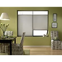 Cordless Top Down Bottom Up Cellular Honeycomb Shades, 27W x 36H, Cool Silver, Any Size 19-72 Wide