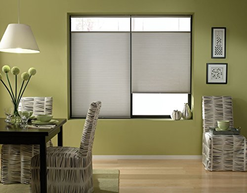 Cordless Top Down Bottom Up Cellular Honeycomb Shades, 34W x 36H, Cool Silver, Any Size 19-72 - Shades Wide